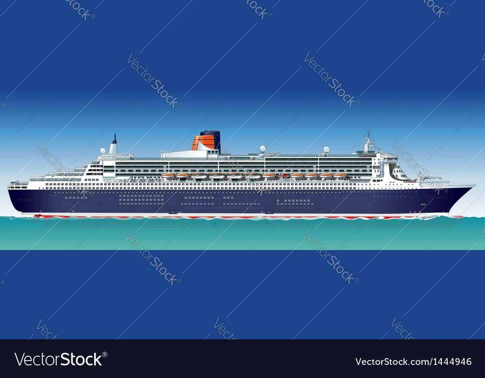 Hidetailed cruise ship vector