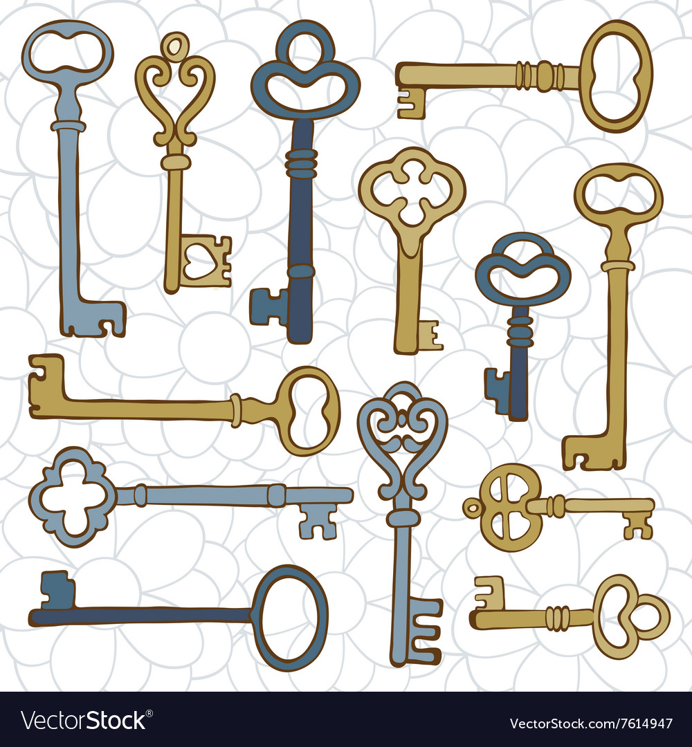 Beautiful hand drawn vintage keys collection vector
