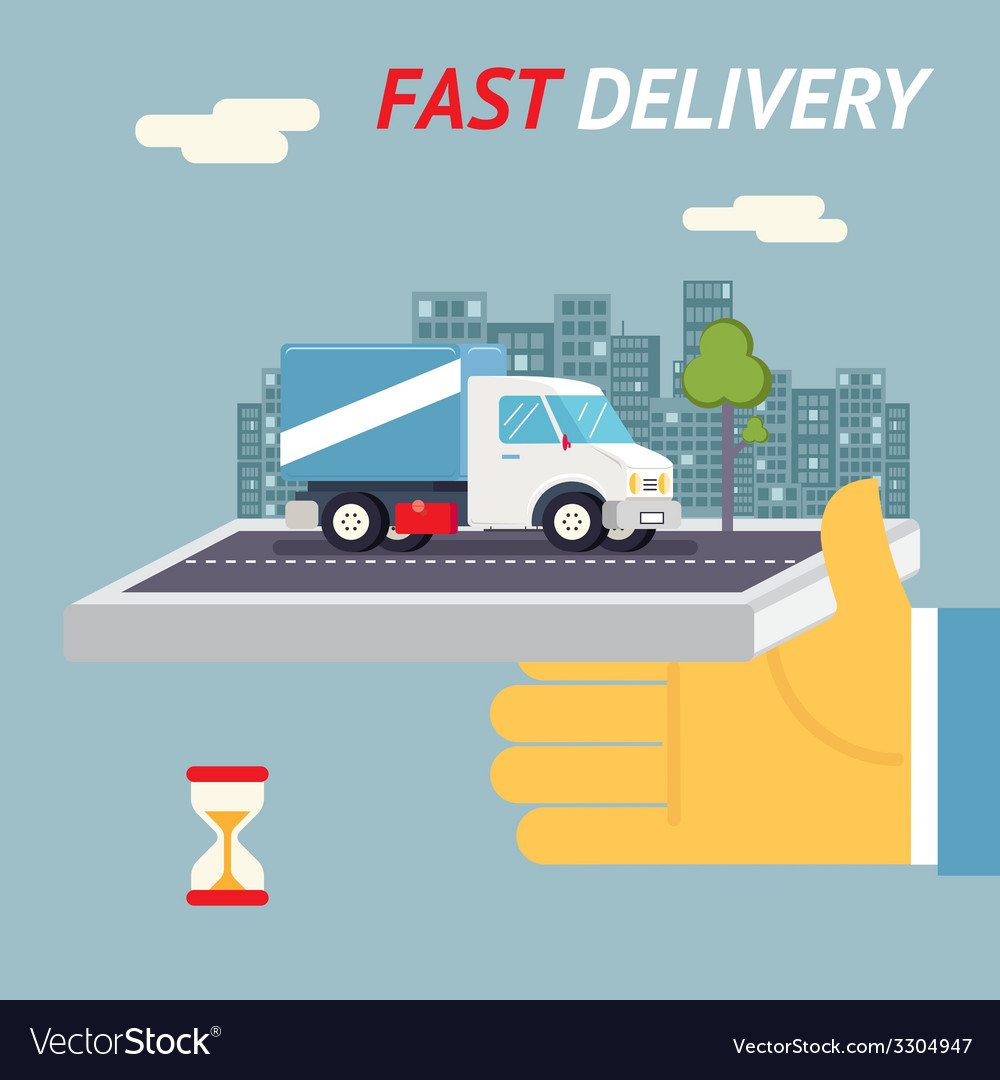 Fast free delivery symbol shipping hourglass timer vector