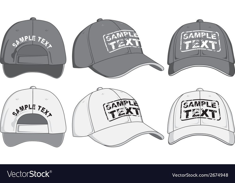 Baseball cap front back and side view vector