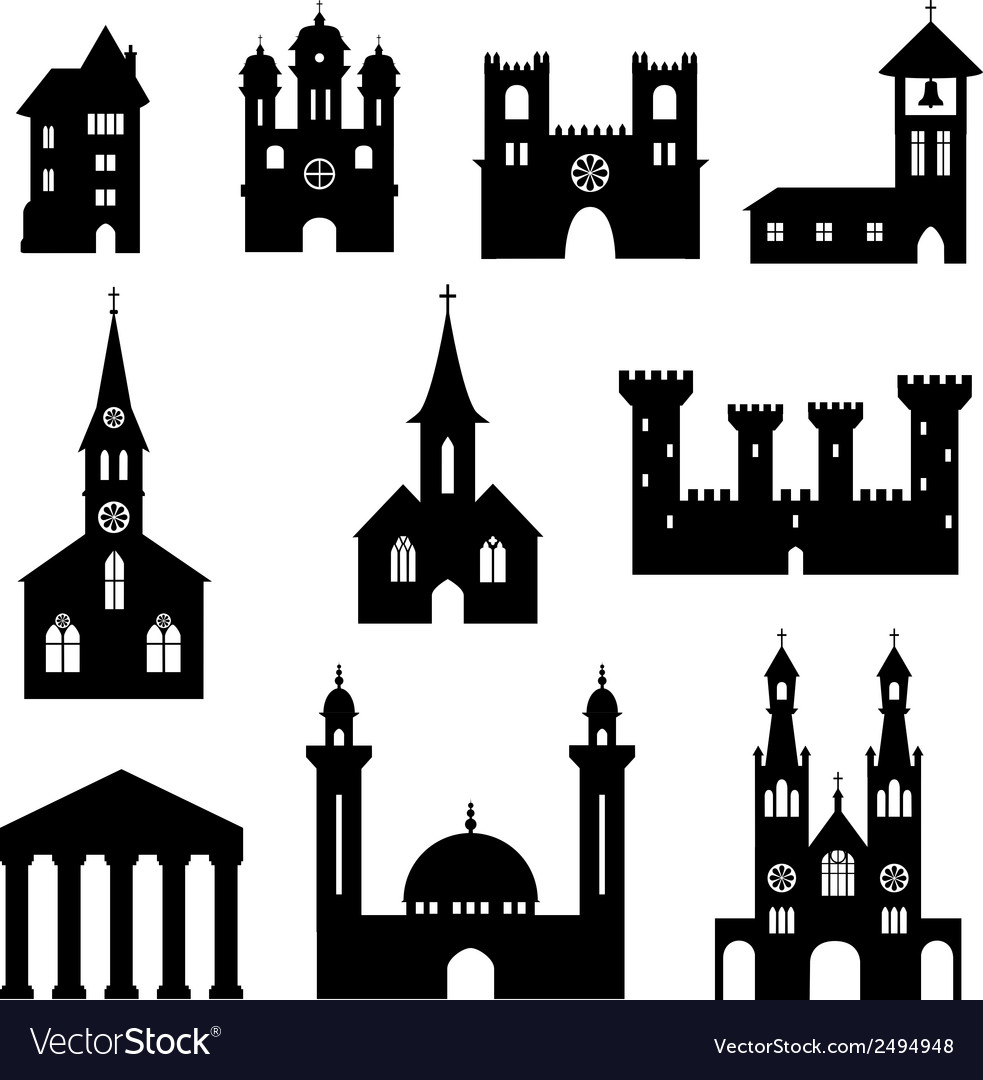 Buildings  silhouette set of churches and castles vector