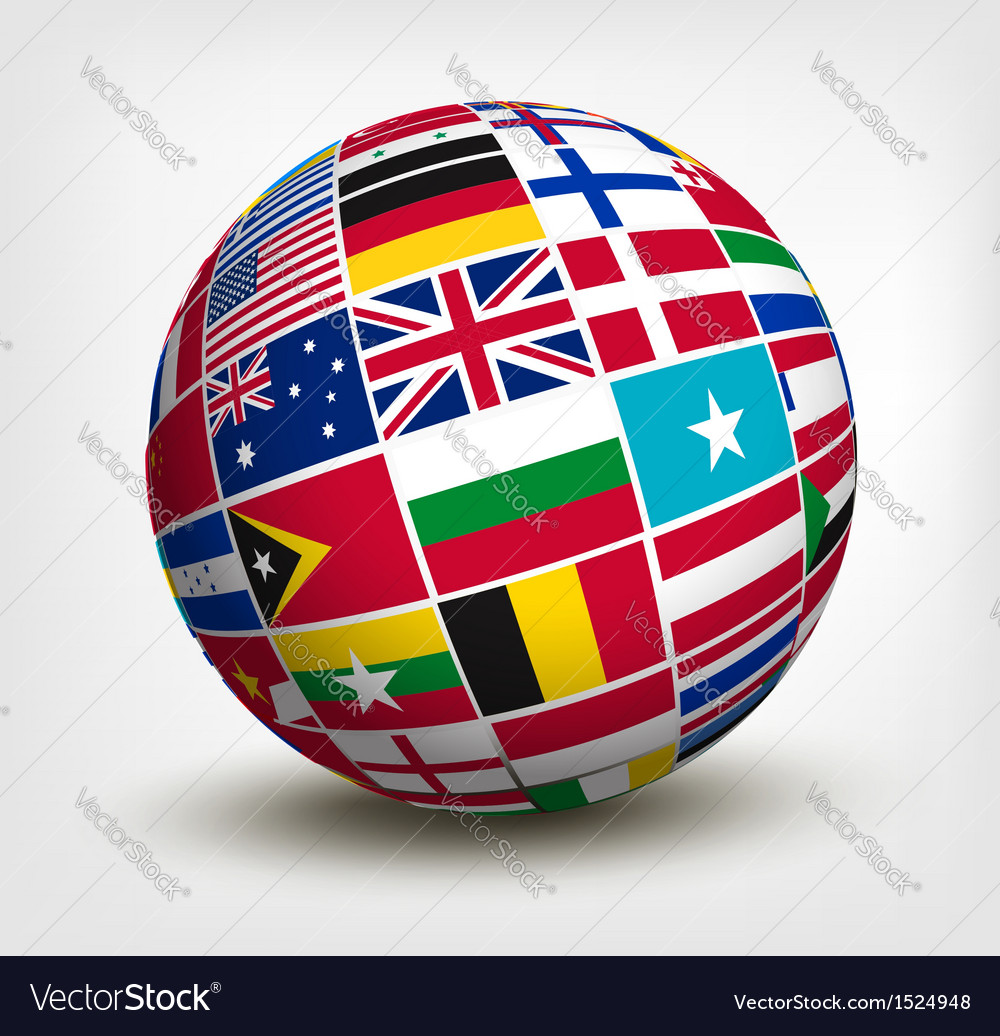 Flags of the world in globe vector
