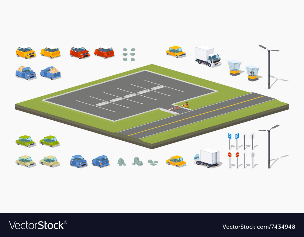 Parking lot constructor vector