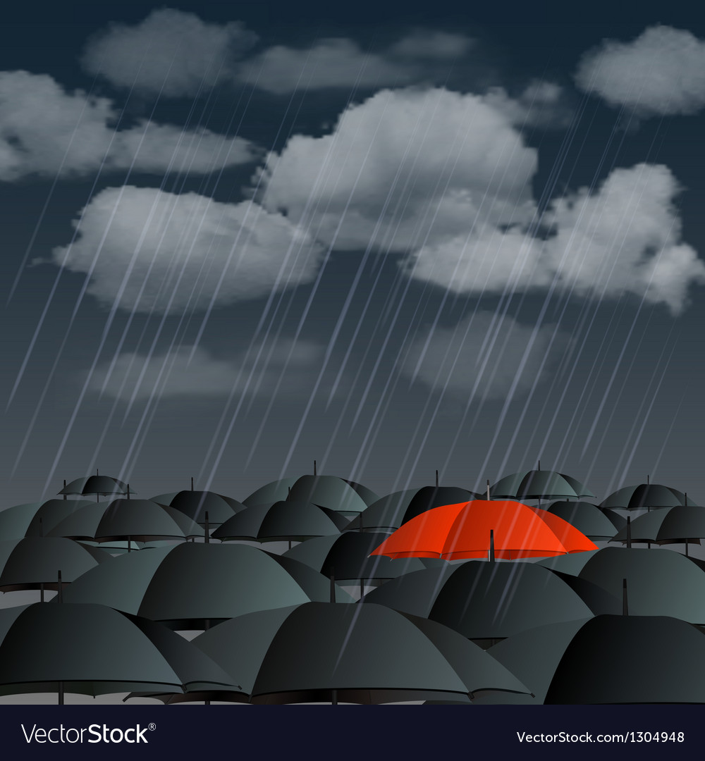 Red umbrella over many dark ones vector