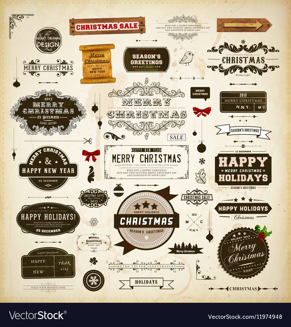 Retro christmas label and icon set vector