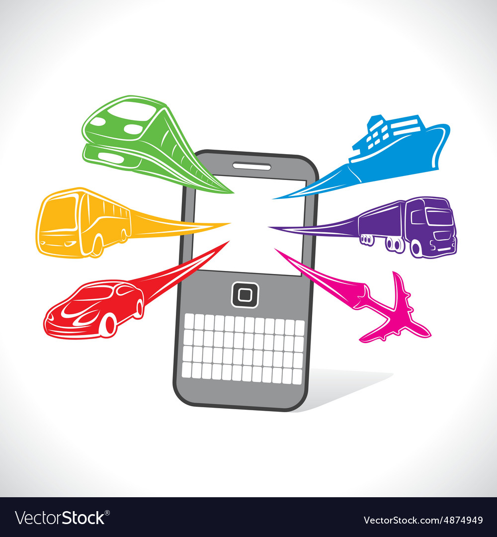 Different transport for online booking concept vector
