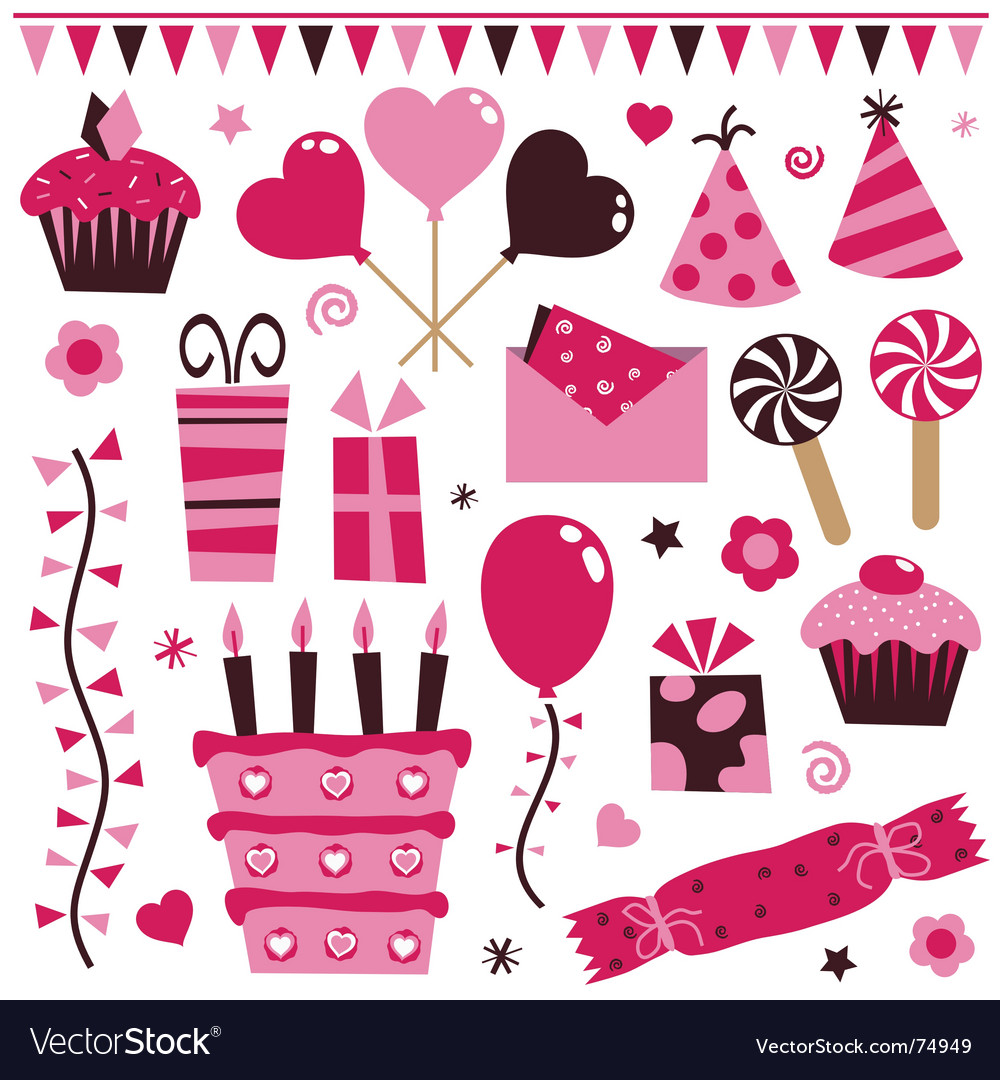 Pink decorations vector