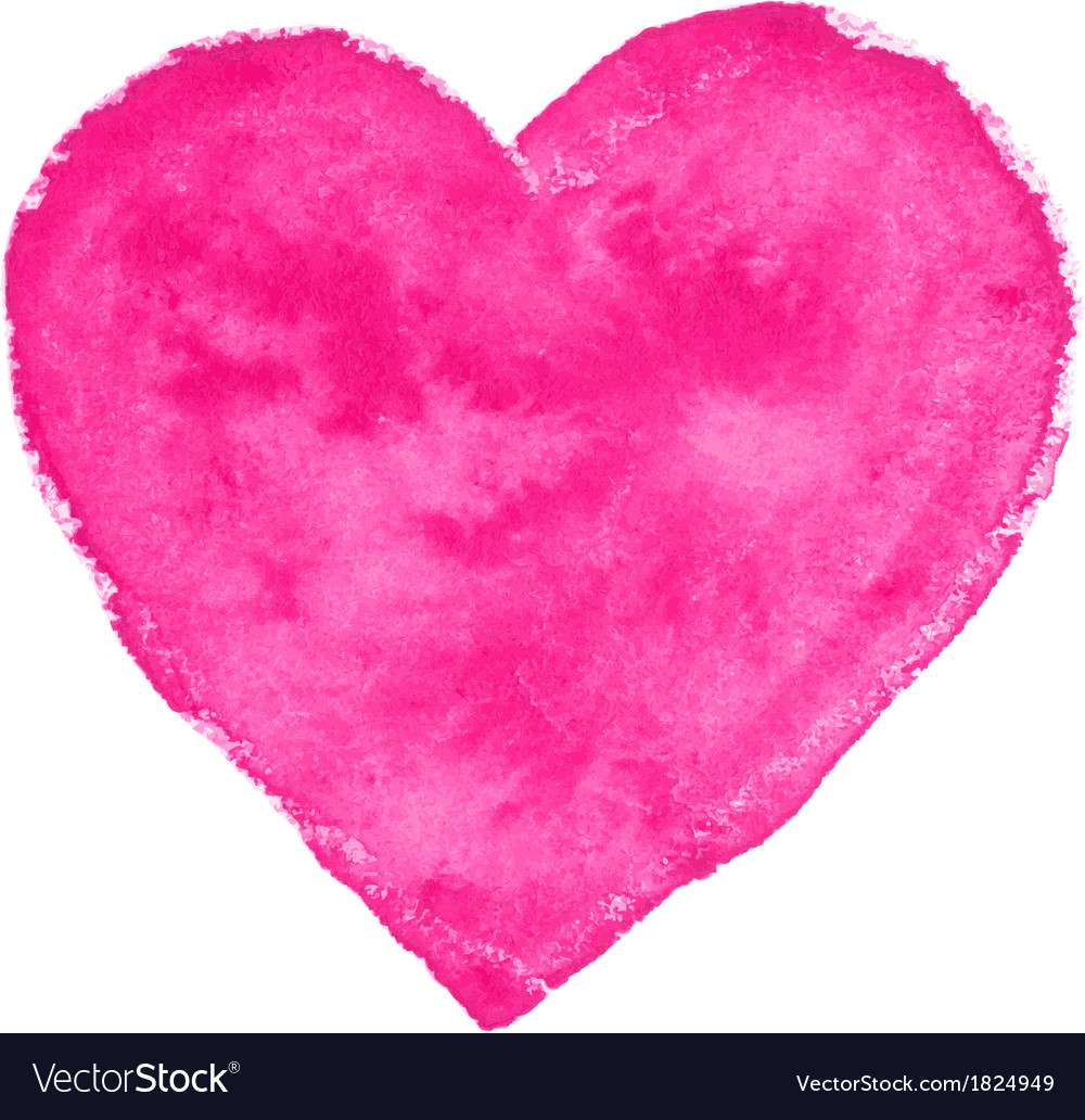 Pink watercolor heart vector