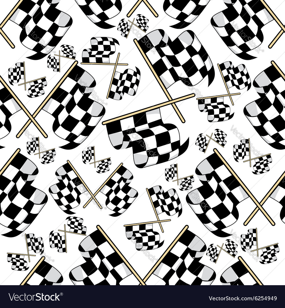 Seamless pattern of motor racing flags vector