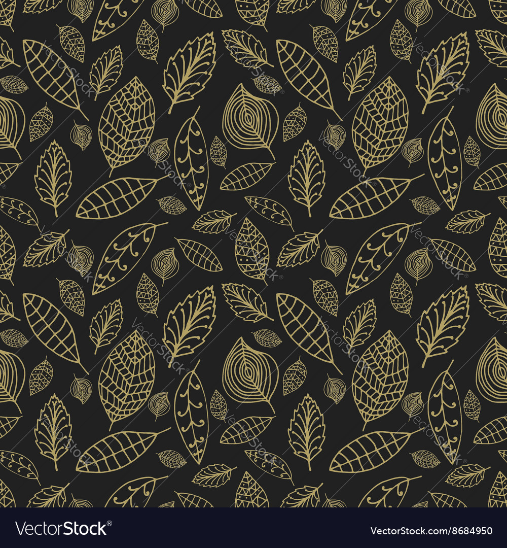 Black and gold seamless pattern with leaves styles vector