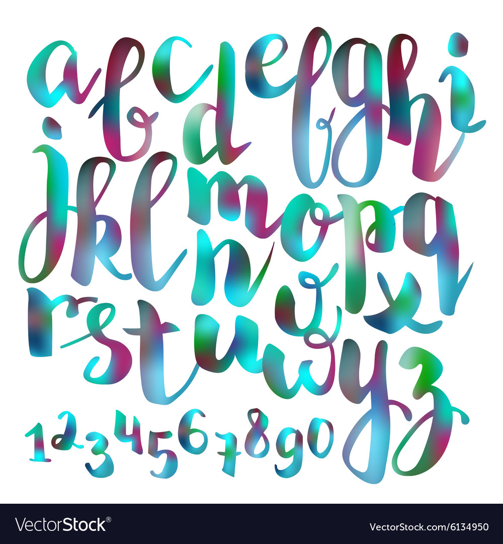 Handwritten brush pen colorful font vector