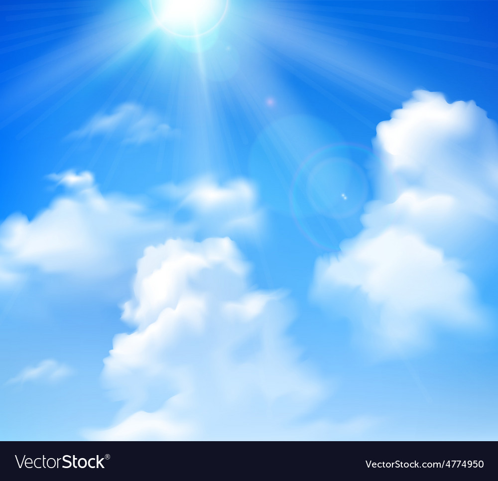 Sun shining in sky vector
