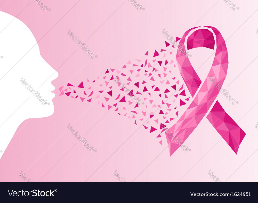 Breast cancer awareness ribbon transparency woman vector