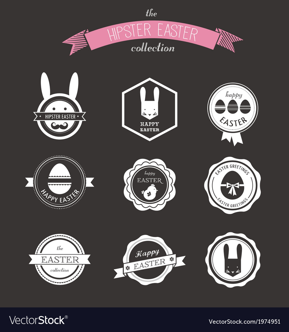 Happy hipster easter  set of icons and elements vector