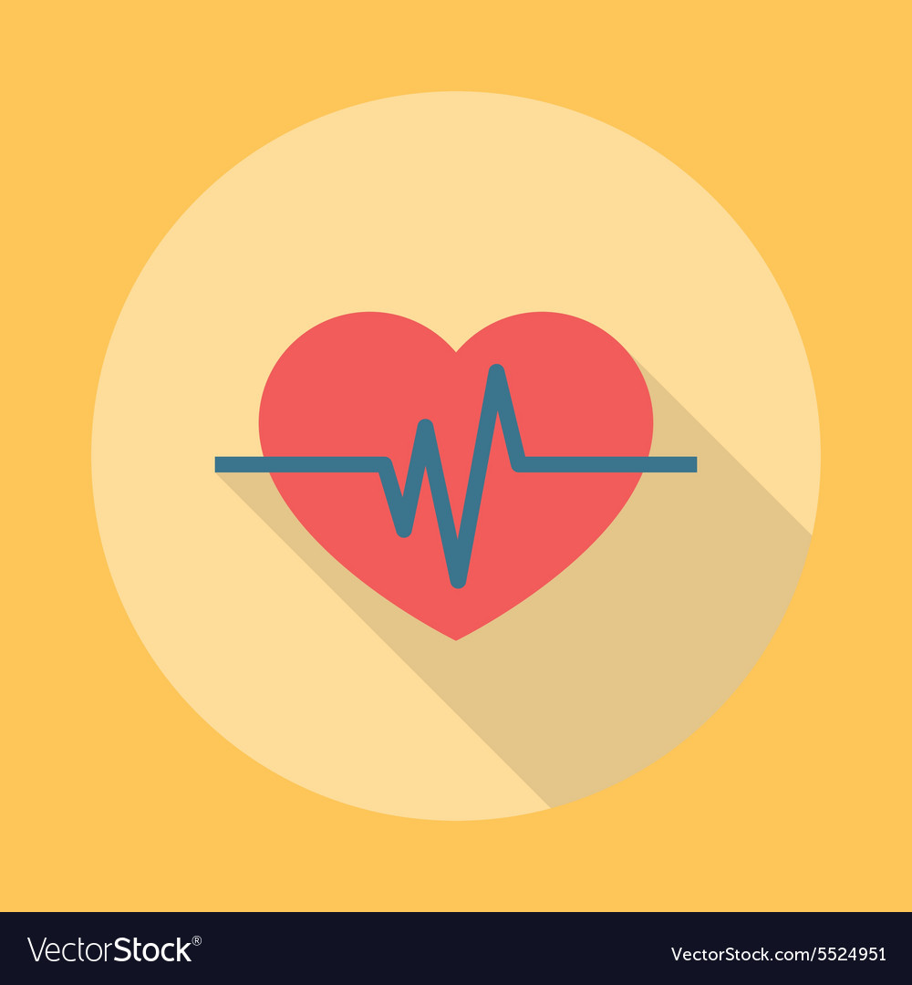 Heartbeat icon flat vector
