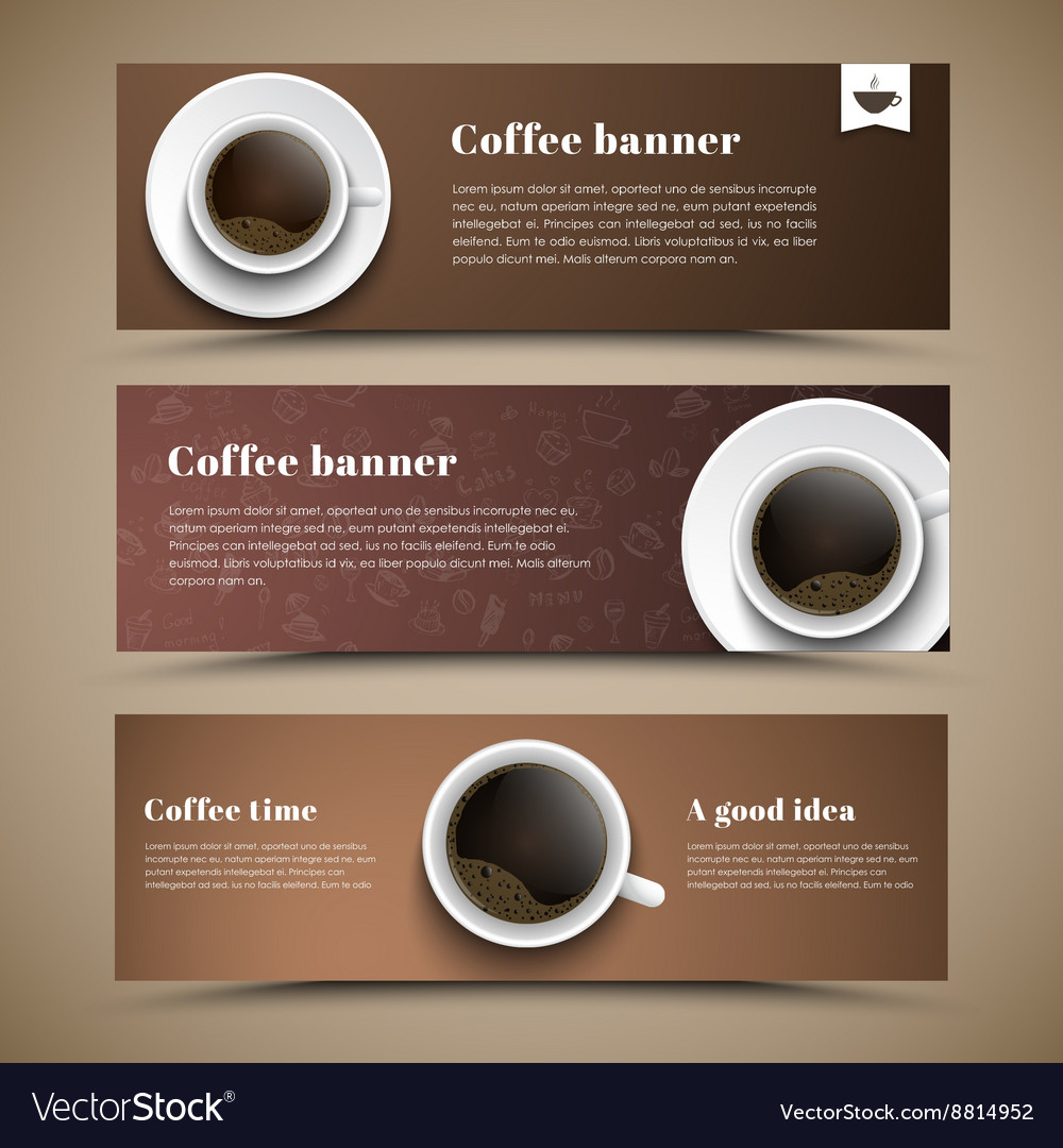 Design coffee banners with a cup of coffee vector