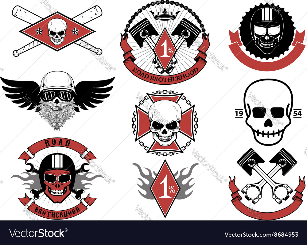 Set of biker badges and emblems vector