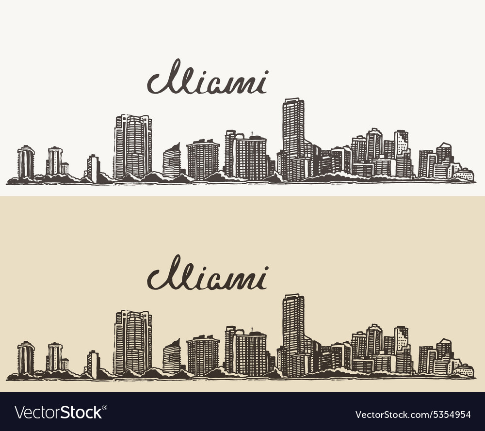 Miami skyline engraved hand drawn sketch vector
