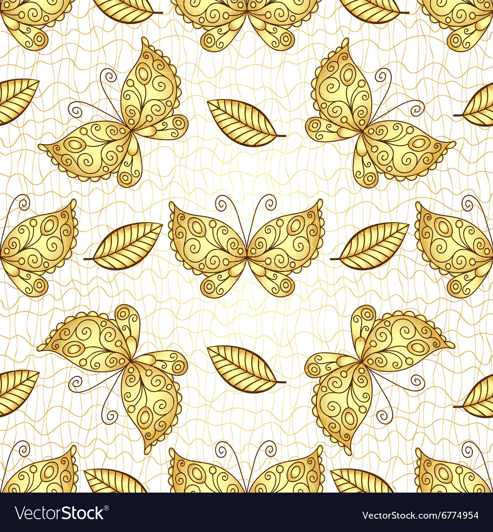 Seamless white pattern with gold butterflies vector
