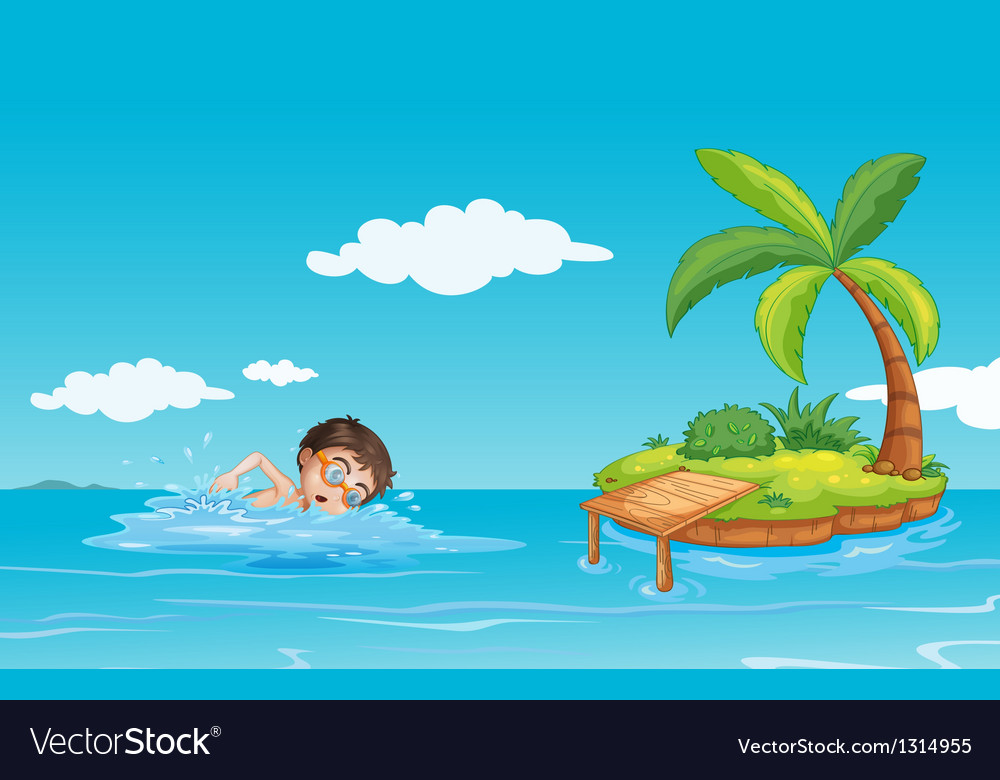 A boy swimming at the beach vector