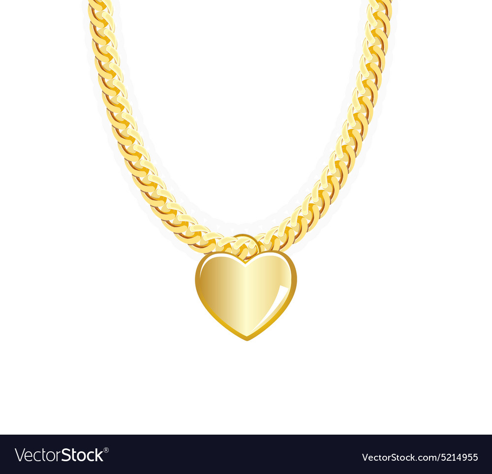 Gold chain jewelry whith heart vector