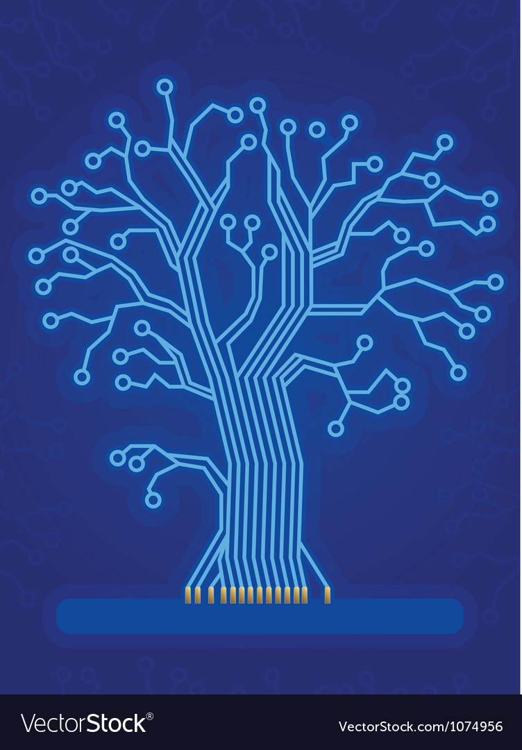 Blue technology tree vector