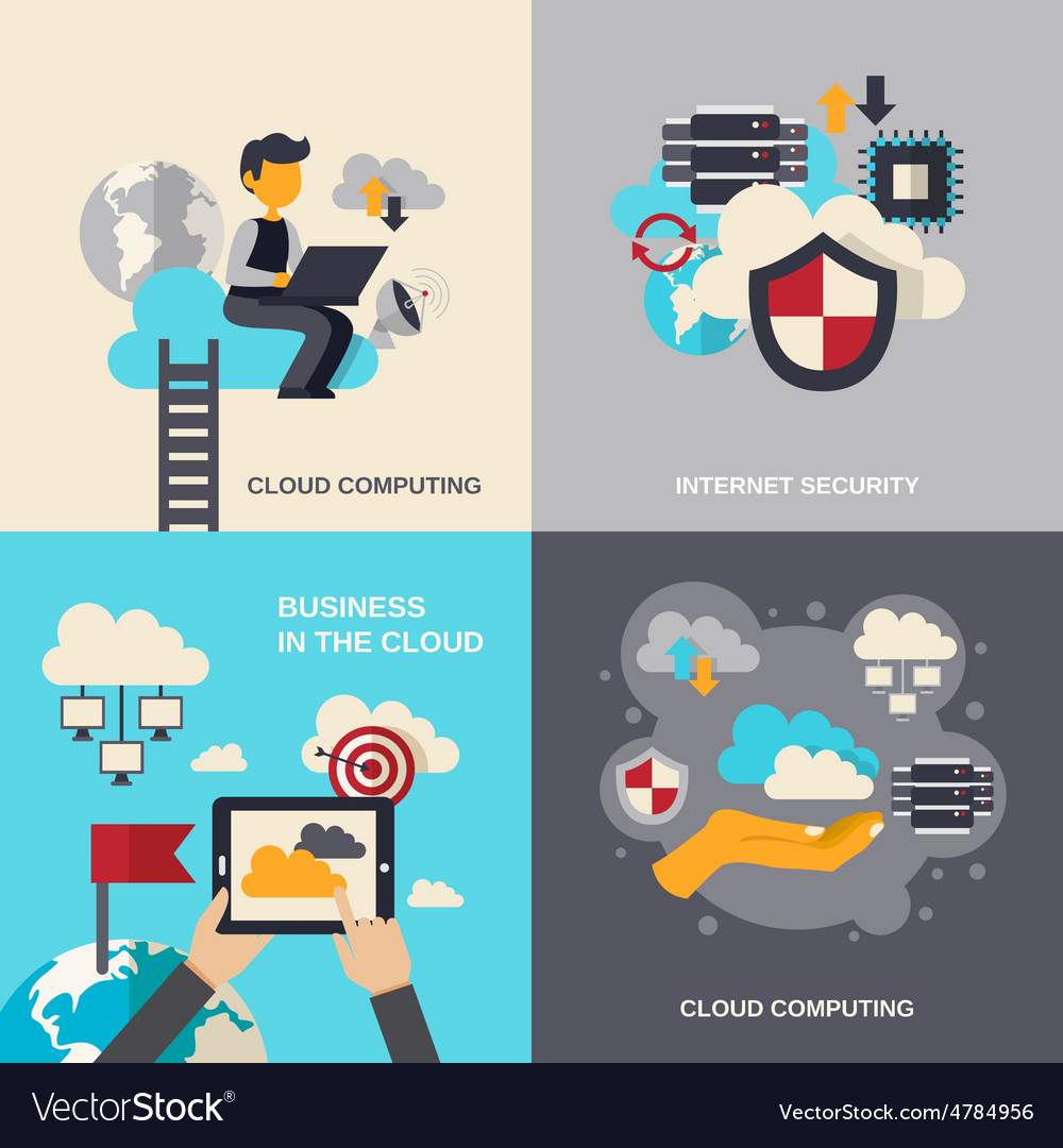 Cloud computing flat set vector