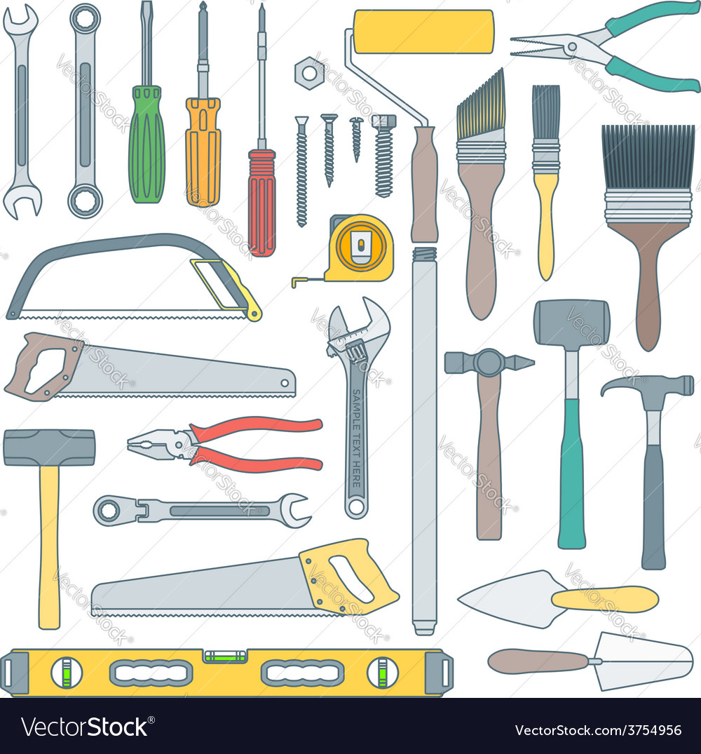 Color outline various house remodel instruments vector