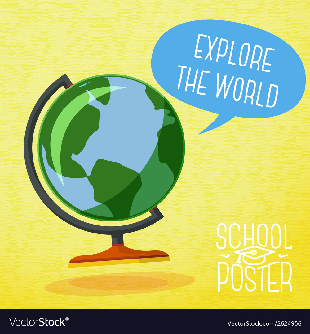 Cute school poster  globe with speech bubble and vector
