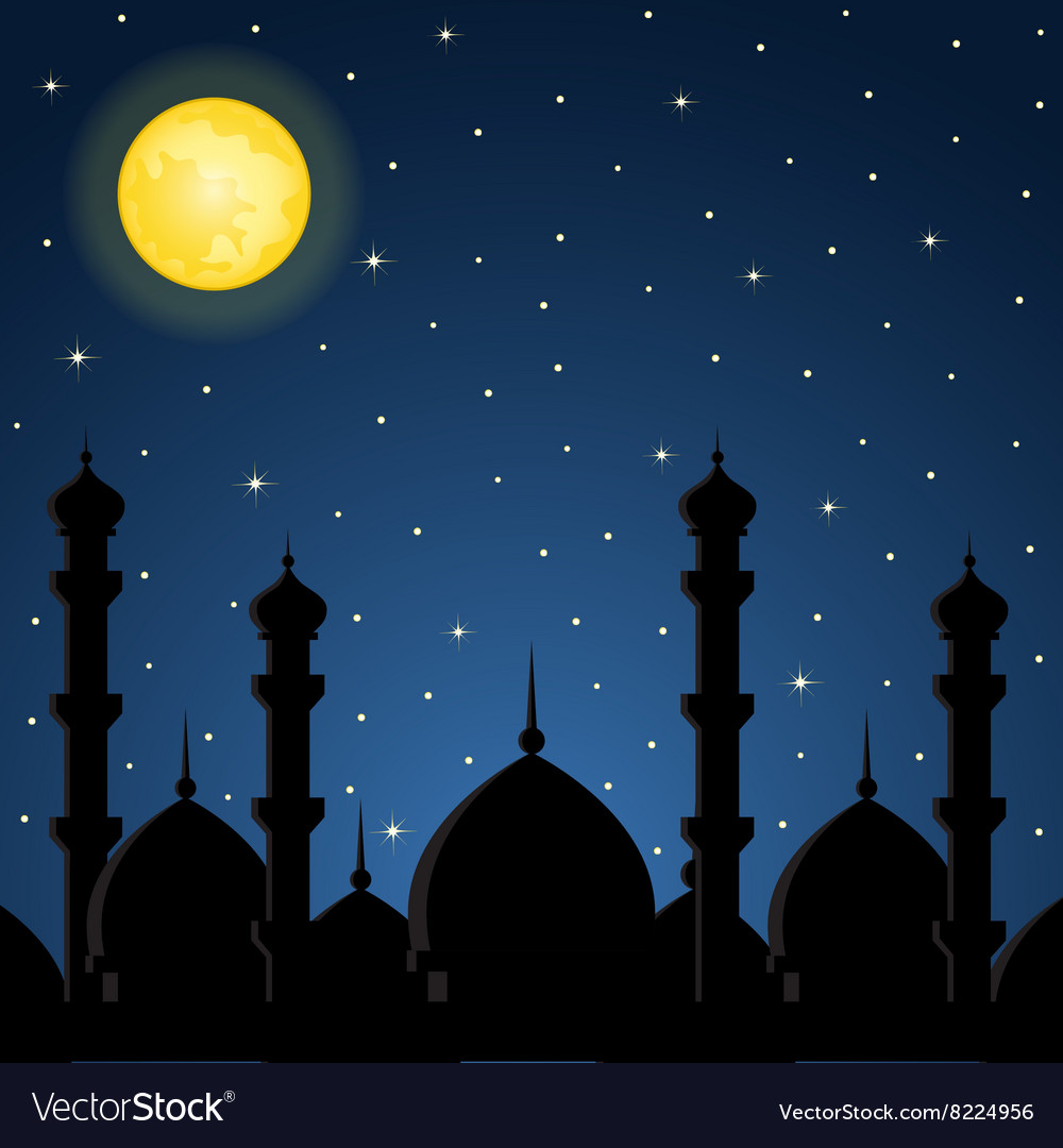 Night background with mosque silhouette vector