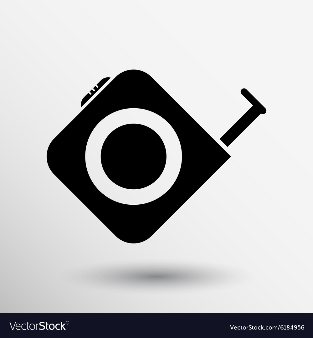 Tape measure icon roulette construction button vector