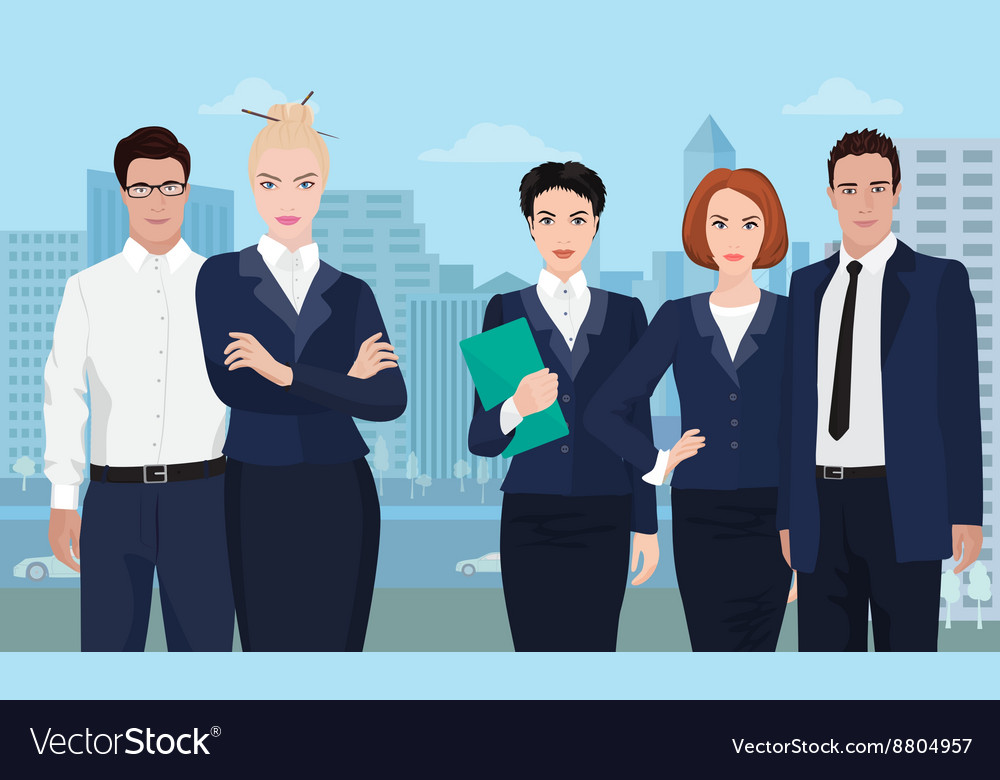 Business team formed of young businessman standing vector