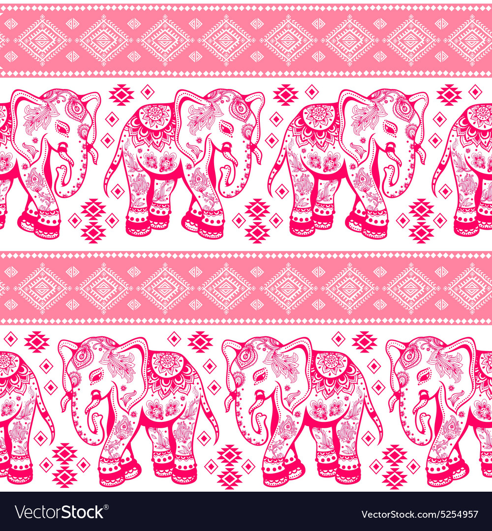 Ethnic elephant seamless vector