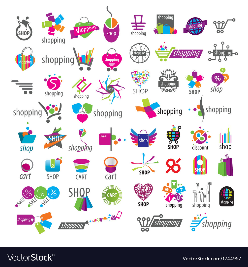 Large collection of logos and shopping vector