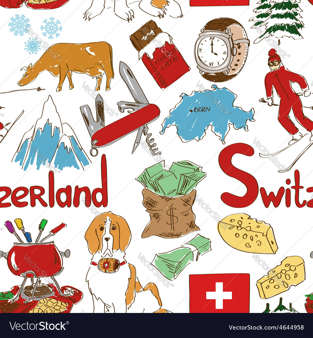 Sketch switzerland seamless pattern vector