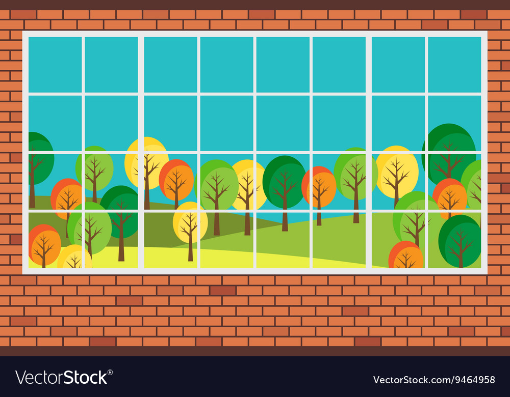 Window with forest landscape view flat design vector