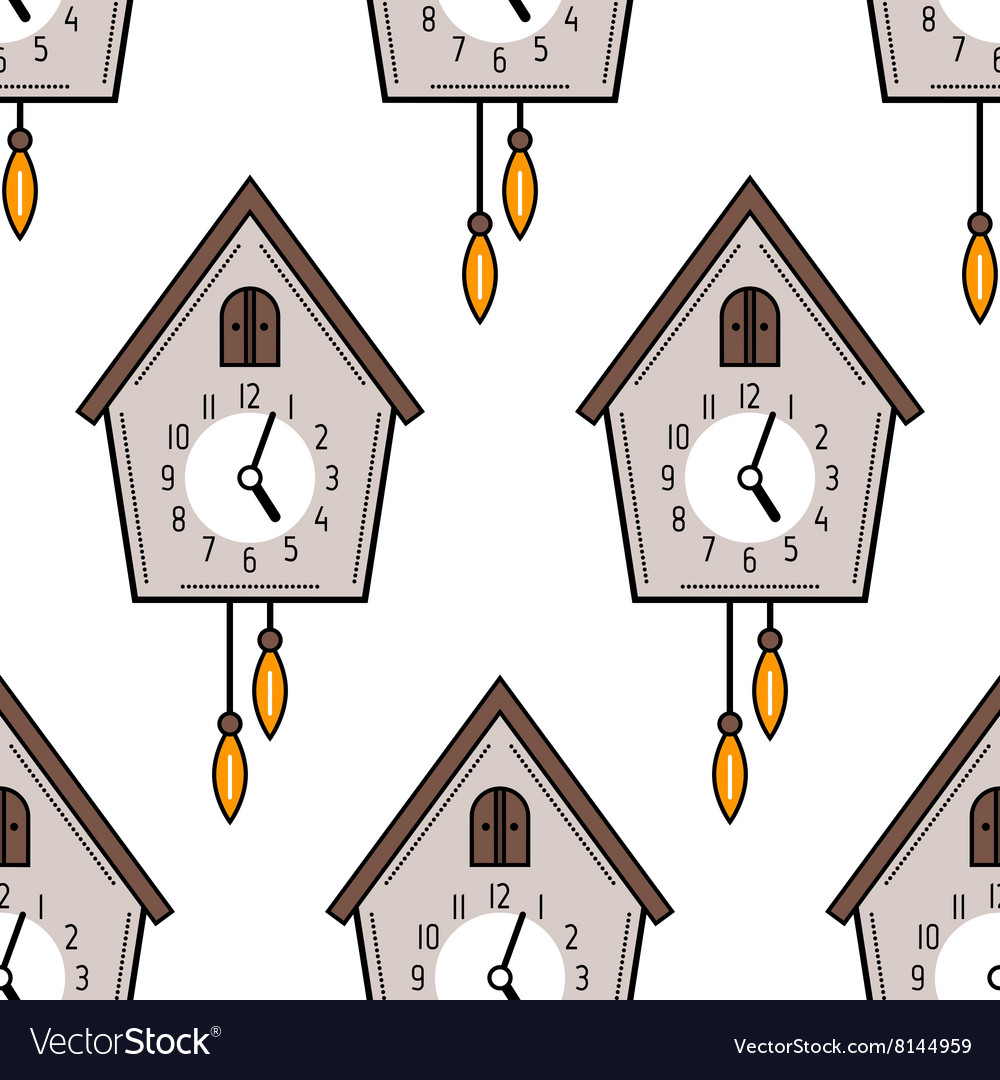 Seamless pattern with cuckoo clock on white vector