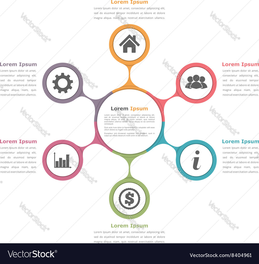 Circle diagram with six elements vector