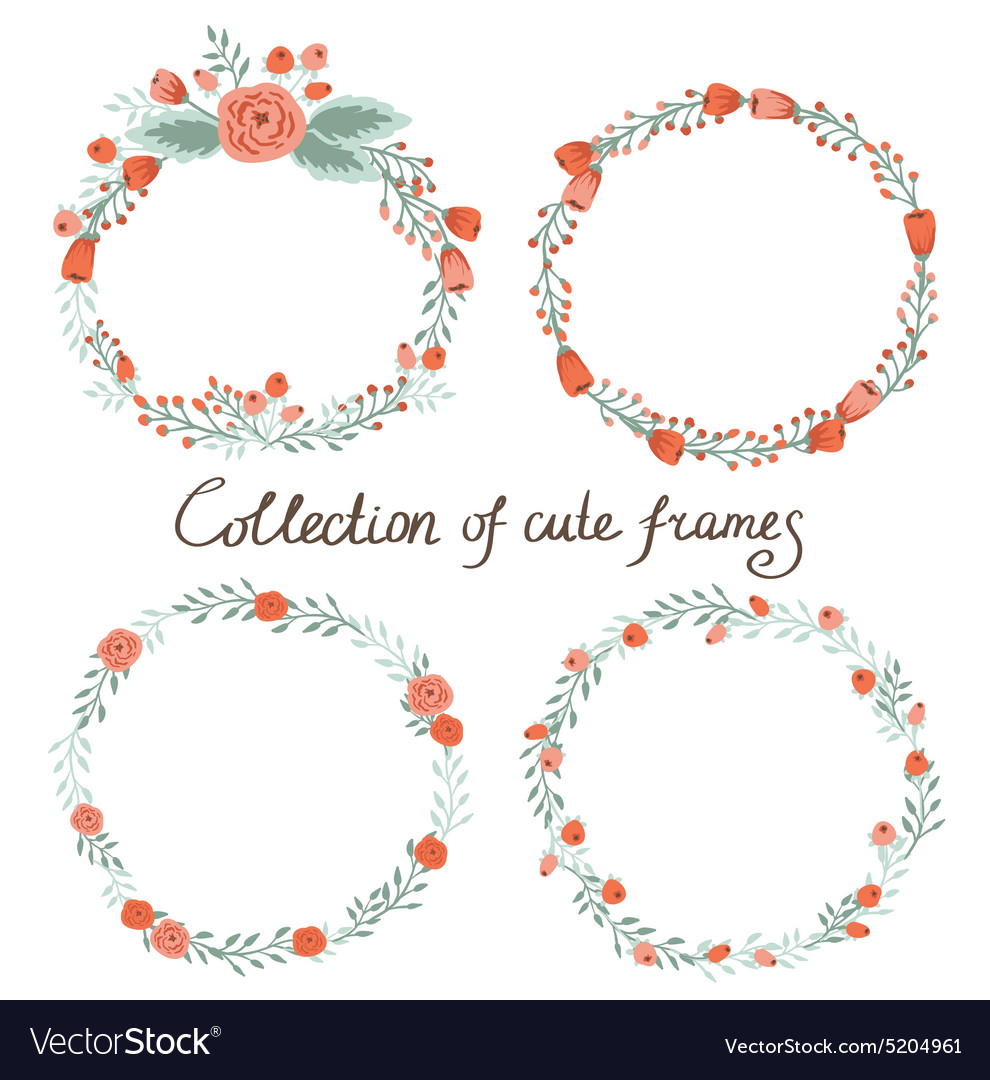 Floral frame collection set of cute retro flowers vector