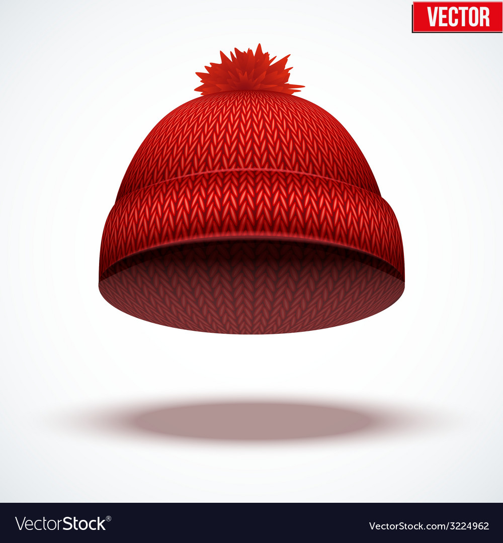 Knitted woolen cap winter seasonal red hat vector