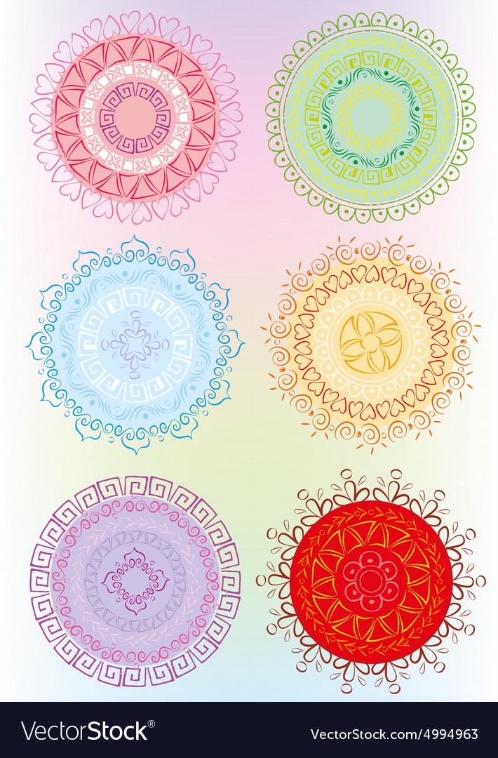 Beautiful ornament in color vector