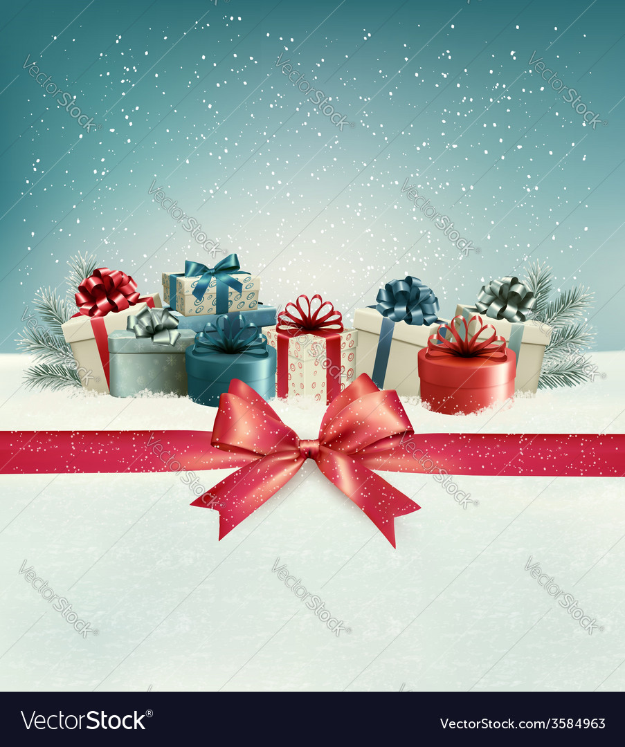 Christmas background with a bow and presents vector
