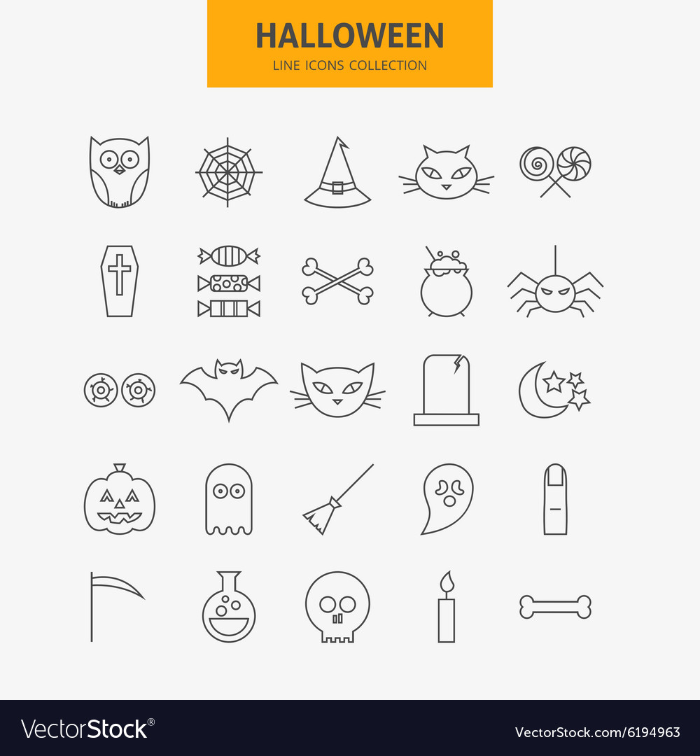 Line halloween icons big set vector