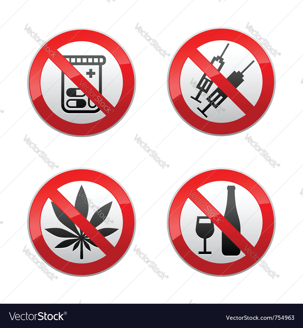 Set prohibited signs  drugs vector