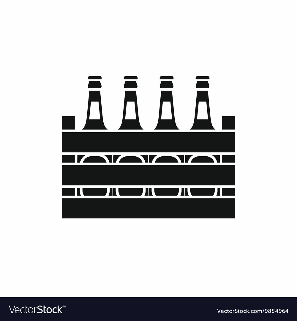 Beer wooden box icon simple style vector