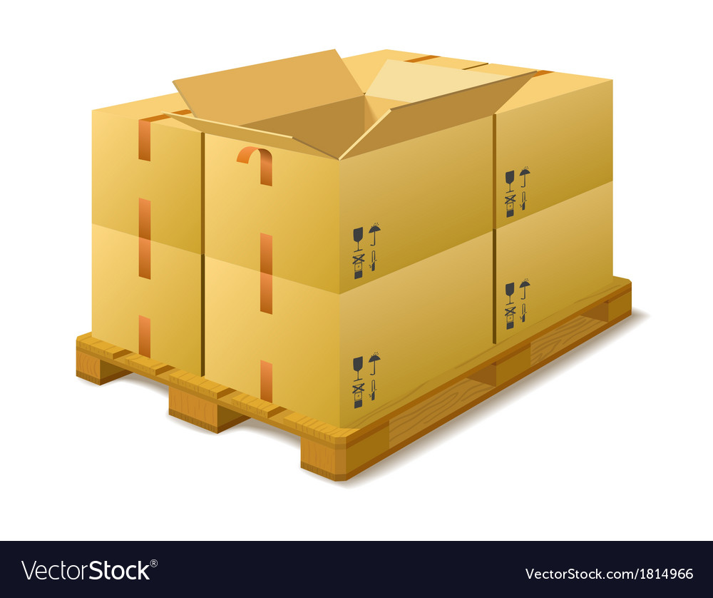 Cardboard boxes on a pallet in stock vector