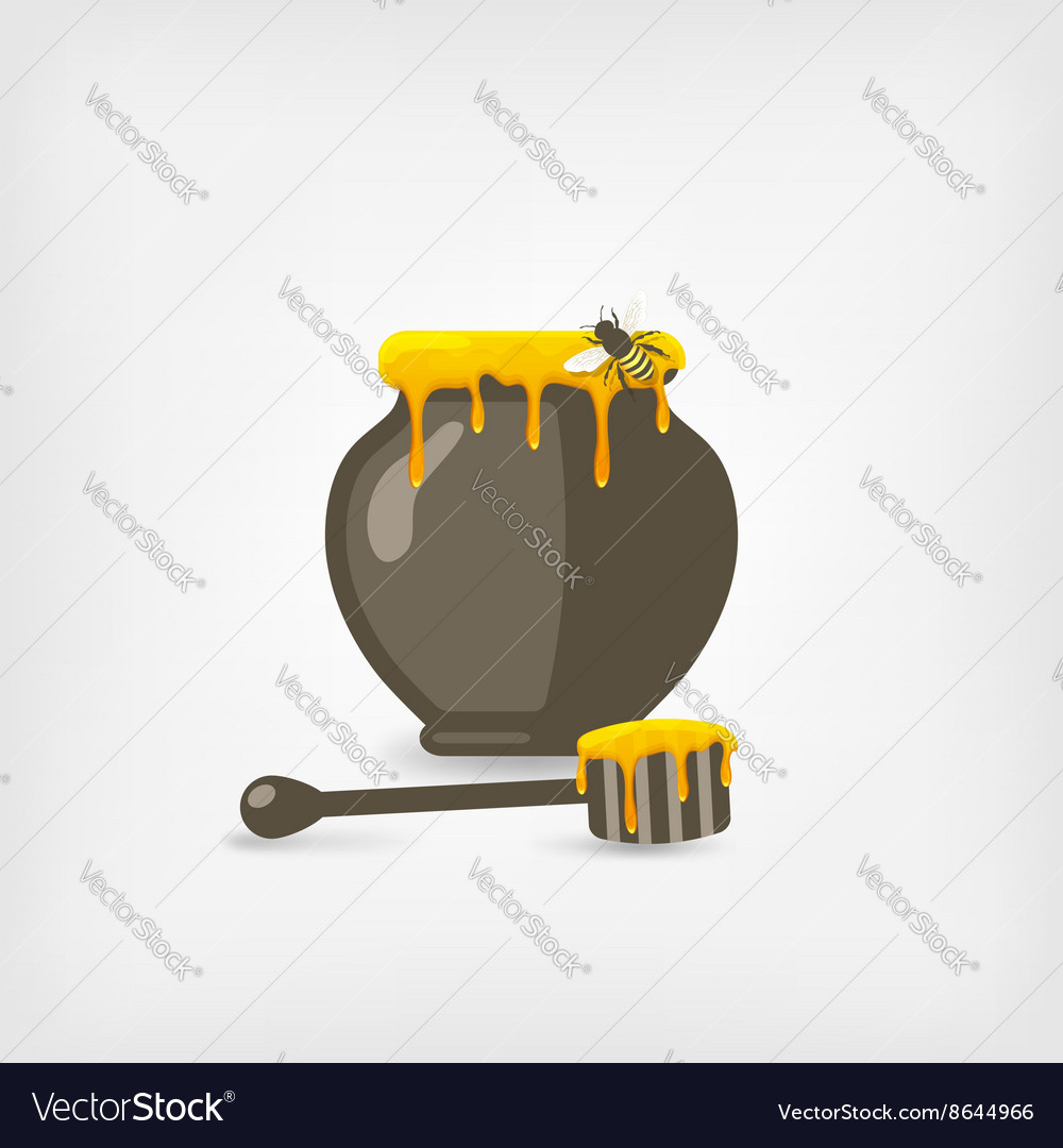 Honey pot with bee and wooden dipper vector