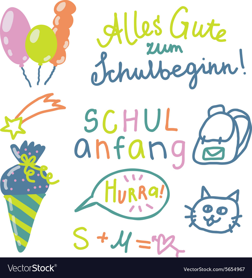 German text schulanfang translate back to school vector