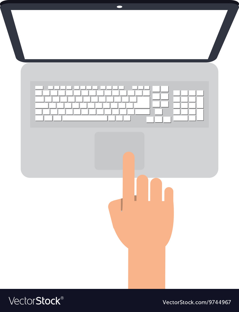Laptop topview with hand icon vector