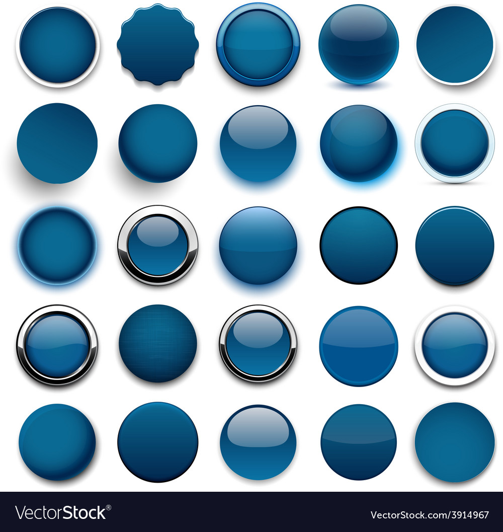 Round dark blue icons vector